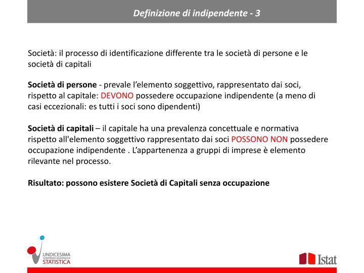 Definizione di indipendente - 3