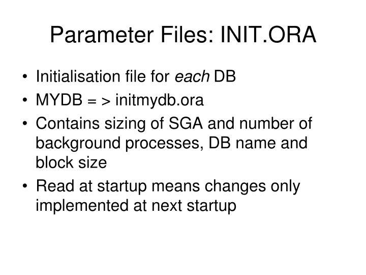 Parameter Files: INIT.ORA