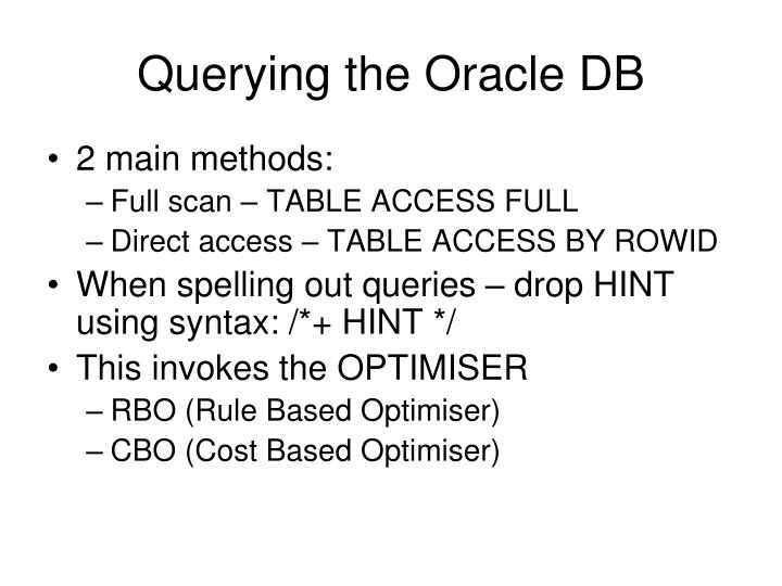 Querying the Oracle DB