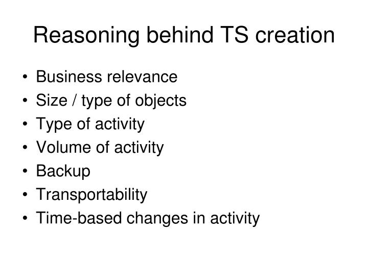 Reasoning behind TS creation