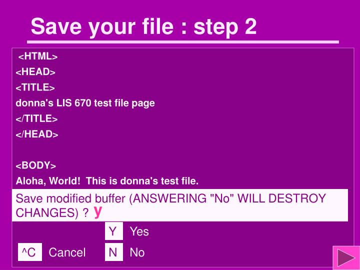 Save your file : step 2