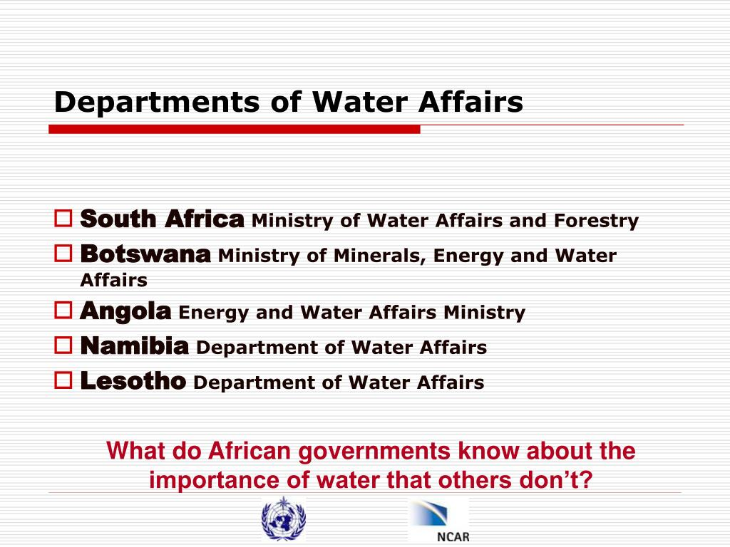 Departments of Water Affairs
