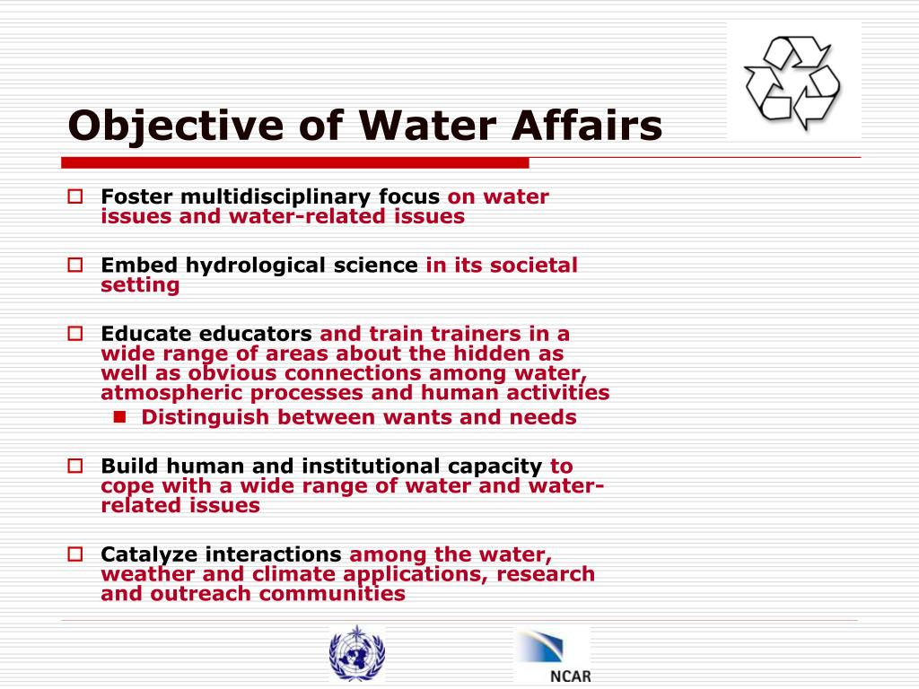 Objective of Water Affairs