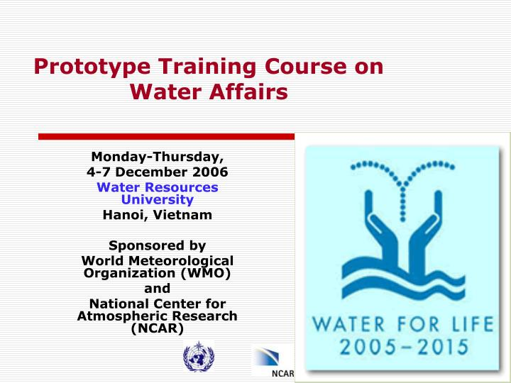 Prototype training course on water affairs