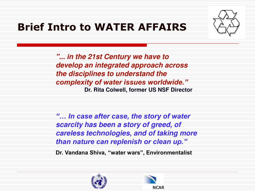 Brief Intro to WATER AFFAIRS