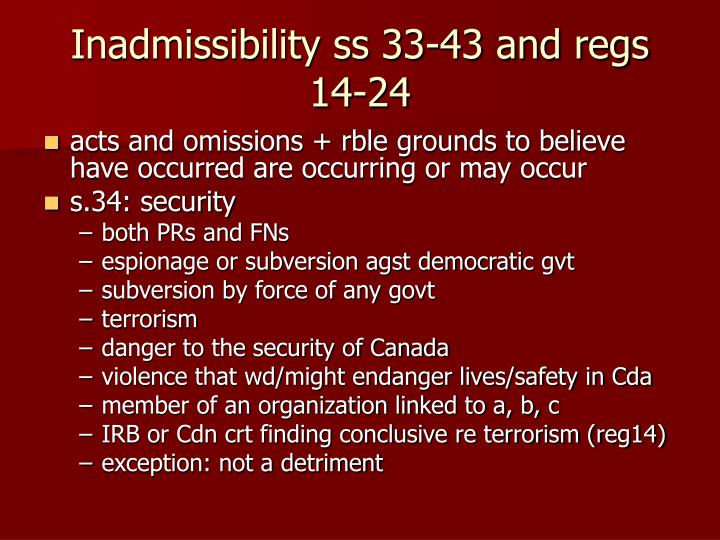 Inadmissibility ss 33-43 and regs 14-24