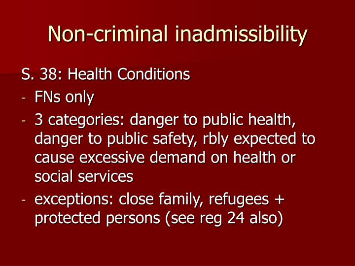 Non-criminal inadmissibility