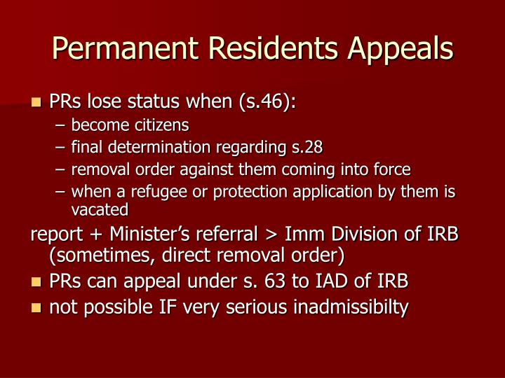 Permanent Residents Appeals