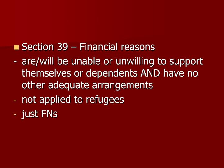 Section 39 – Financial reasons