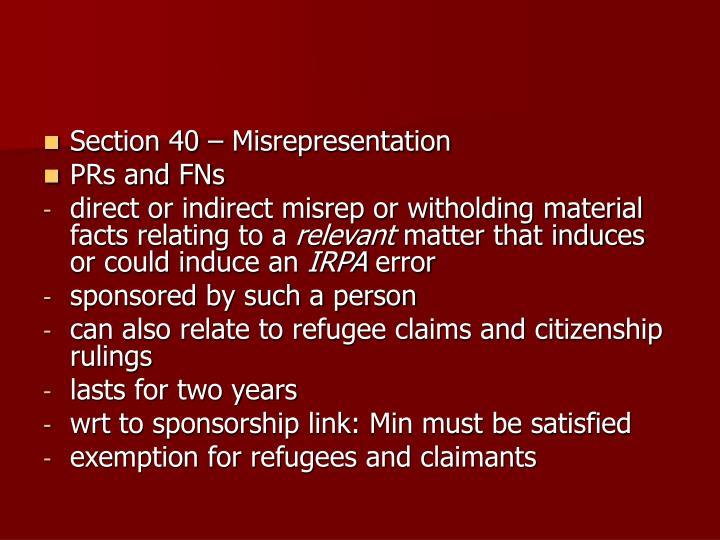 Section 40 – Misrepresentation