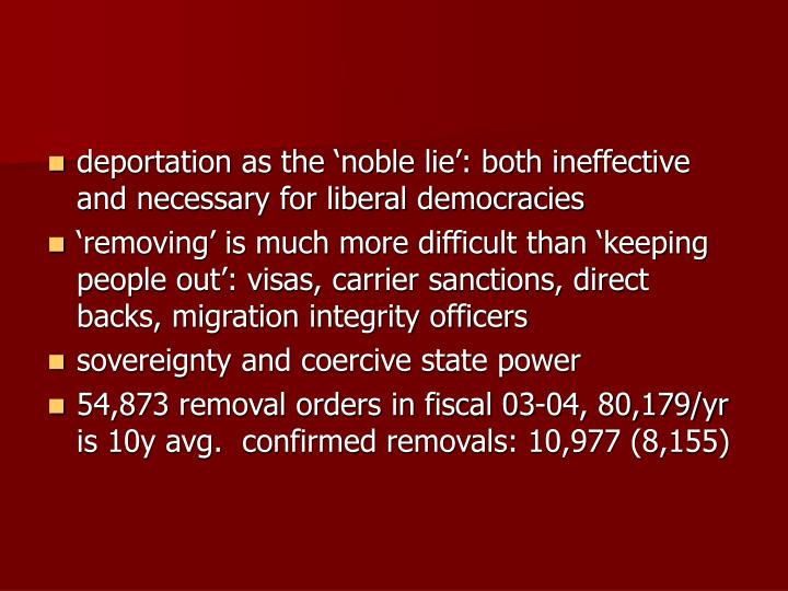 deportation as the 'noble lie': both ineffective and necessary for liberal democracies