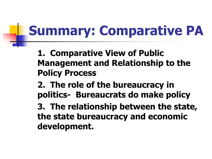 Summary: Comparative PA