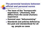 the perennial tensions between official and personal norms
