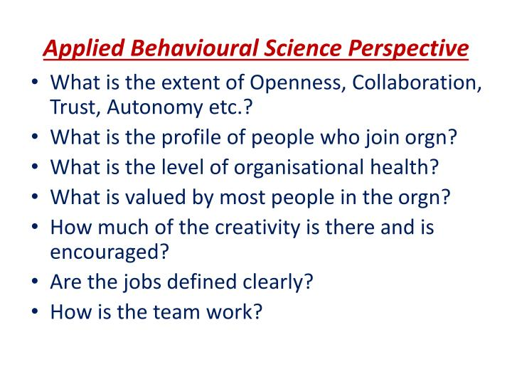 Applied Behavioural Science Perspective