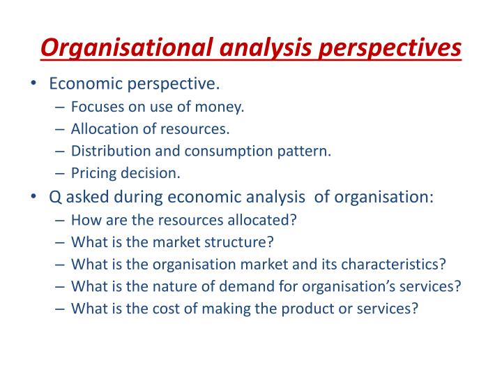 Organisational analysis perspectives