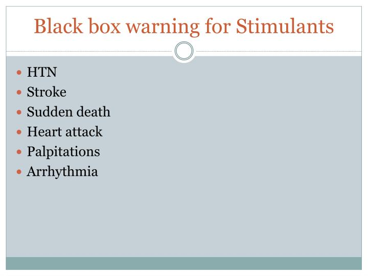 Black box warning for Stimulants