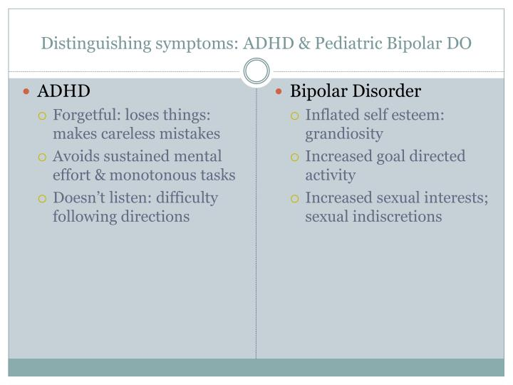 Distinguishing symptoms: ADHD & Pediatric Bipolar DO