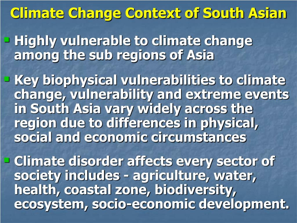 Climate Change Context of South Asian