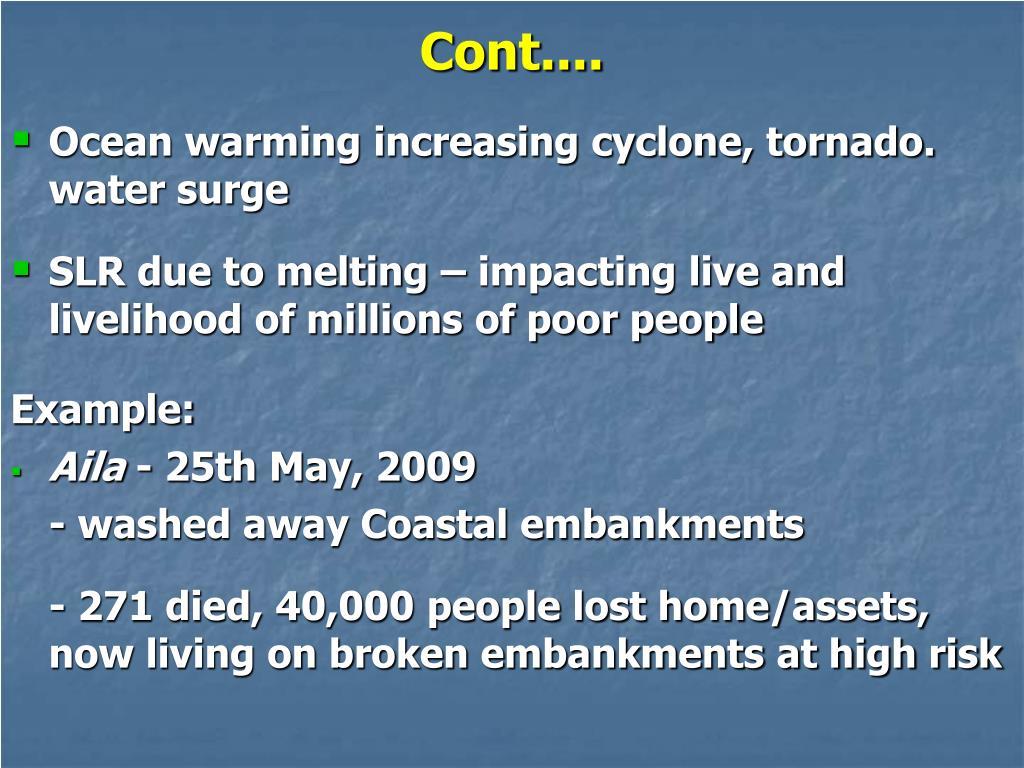 Ocean warming increasing cyclone, tornado. water surge