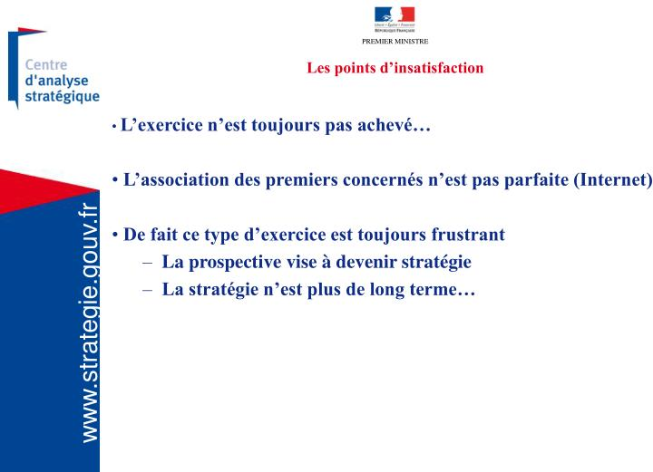 Les points d'insatisfaction