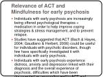 relevance of act and mindfulness for early psychosis