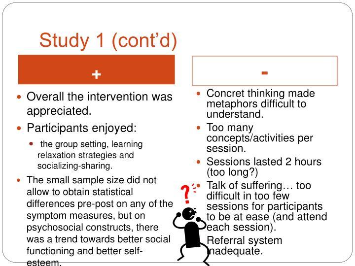 Study 1 (cont'd)