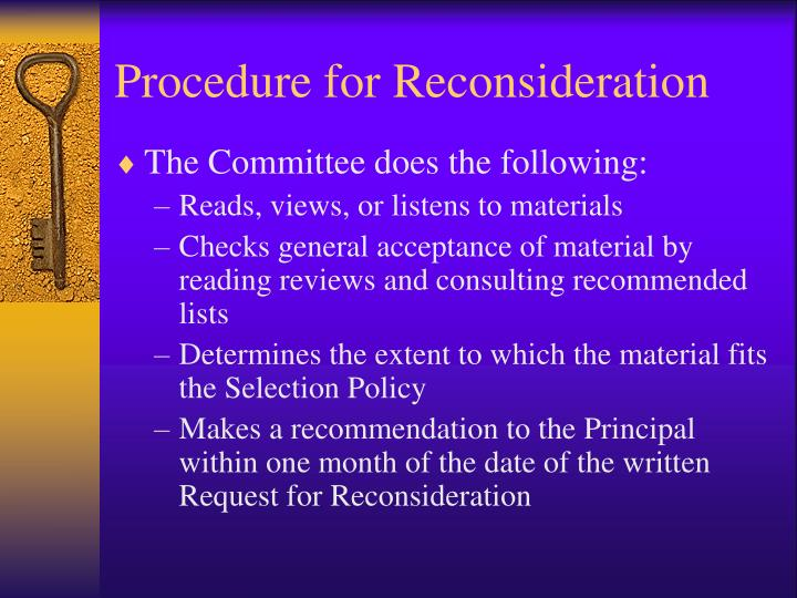 Procedure for Reconsideration