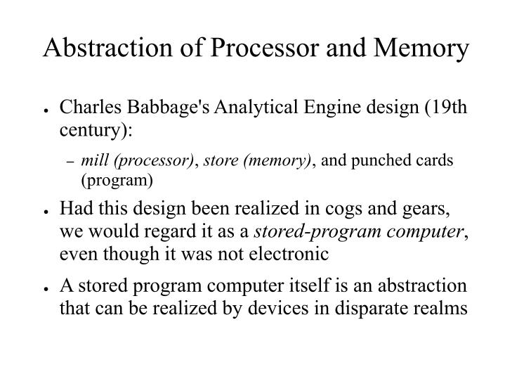 Abstraction of Processor and Memory