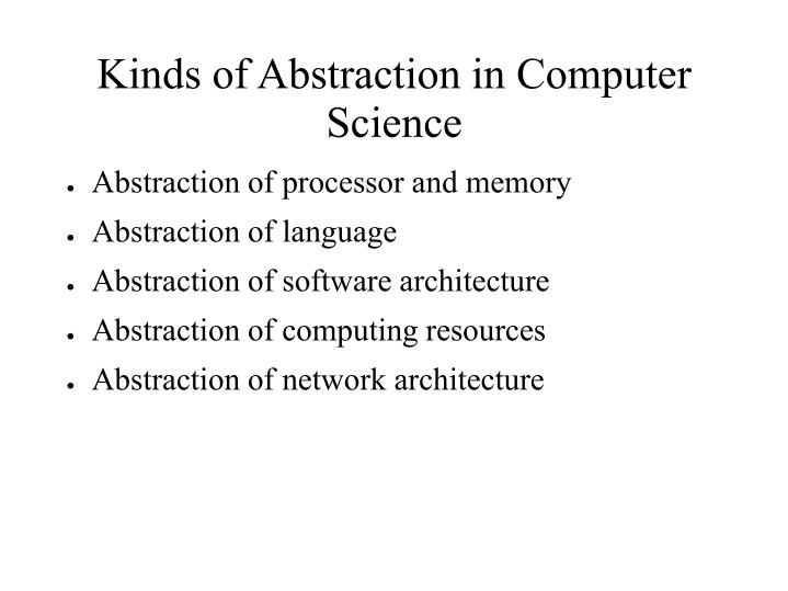 Kinds of Abstraction in Computer Science