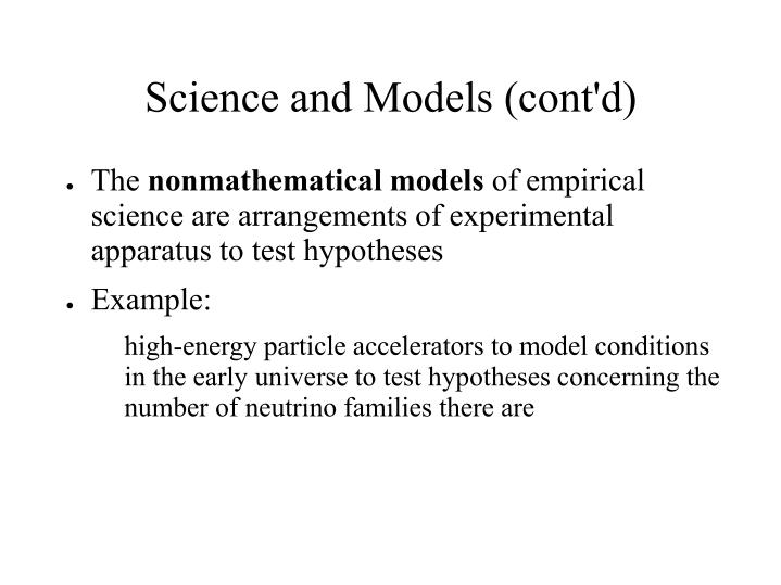 Science and Models (cont'd)