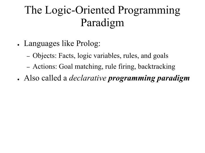 The Logic-Oriented Programming Paradigm