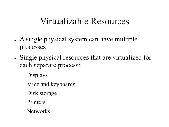 Virtualizable Resources