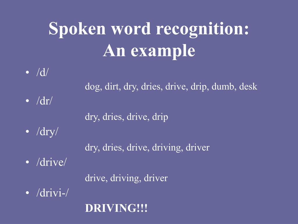 Spoken word recognition: