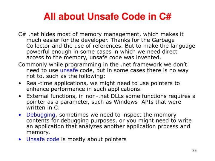 All about Unsafe Code in C#