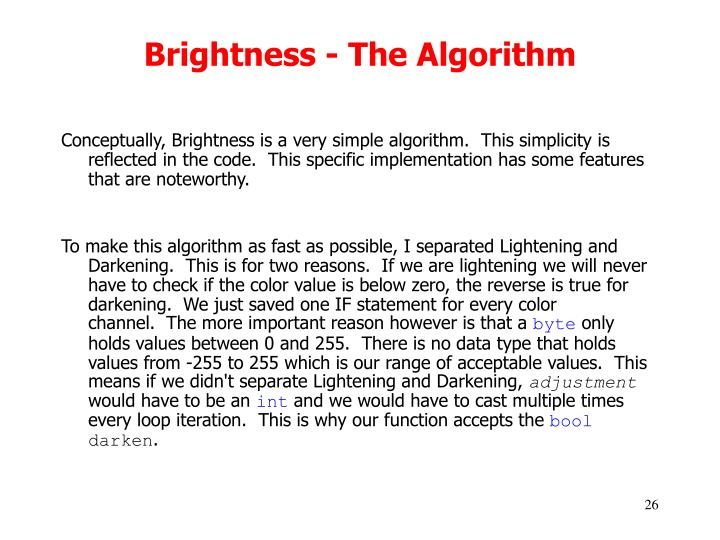 Brightness - The Algorithm
