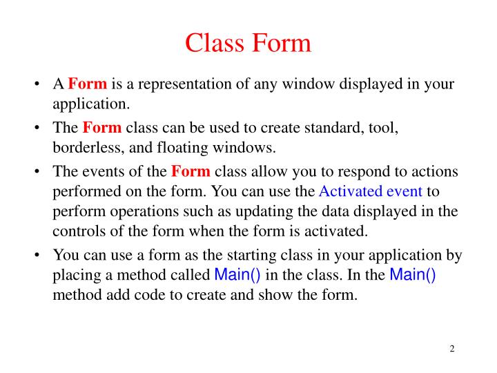 Class Form
