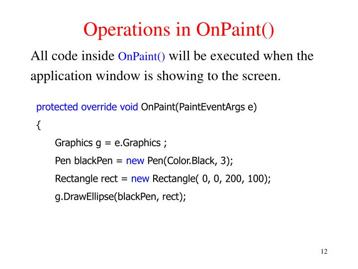 Operations in OnPaint()