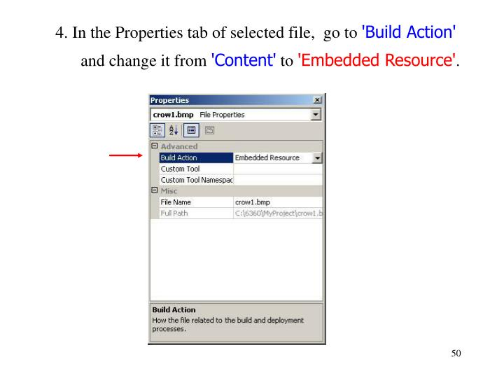 4. In the Properties tab of selected file,  go to