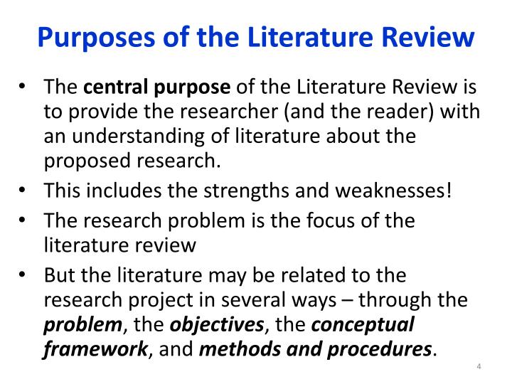 Main objectives of literature review