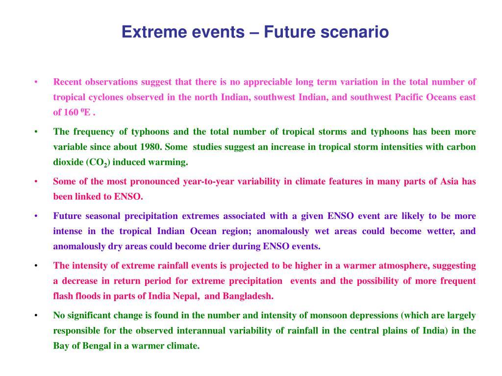 Extreme events – Future scenario