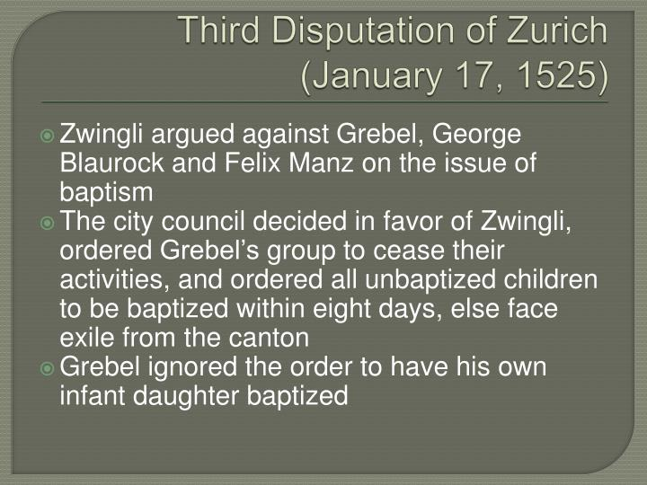 Third Disputation of Zurich (January 17, 1525)