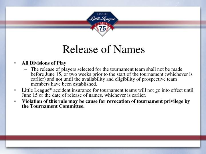 Release of Names