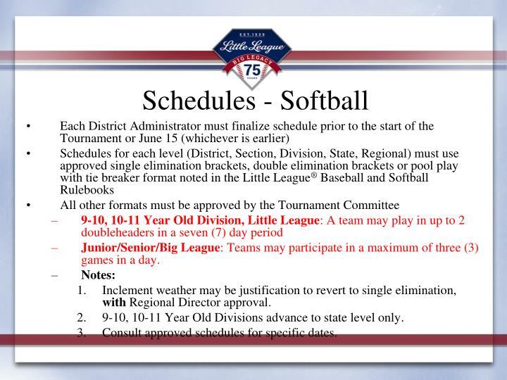 Schedules - Softball