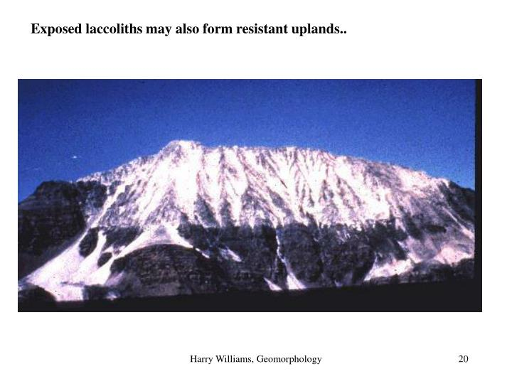 Exposed laccoliths may also form resistant uplands..