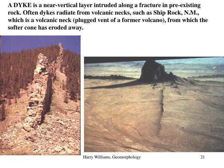 A DYKE is a near-vertical layer intruded along a fracture in pre-existing rock. Often dykes radiate from volcanic necks, such as Ship Rock, N.M., which is a volcanic neck (plugged vent of a former volcano), from which the softer cone has eroded away.