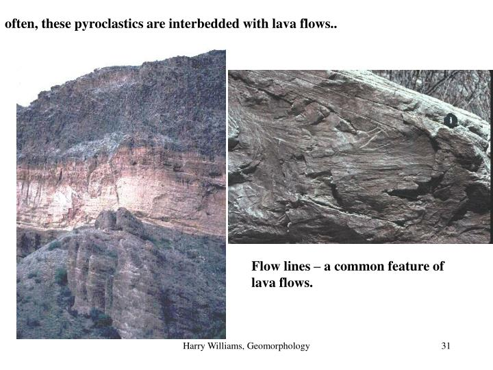 often, these pyroclastics are interbedded with lava flows..