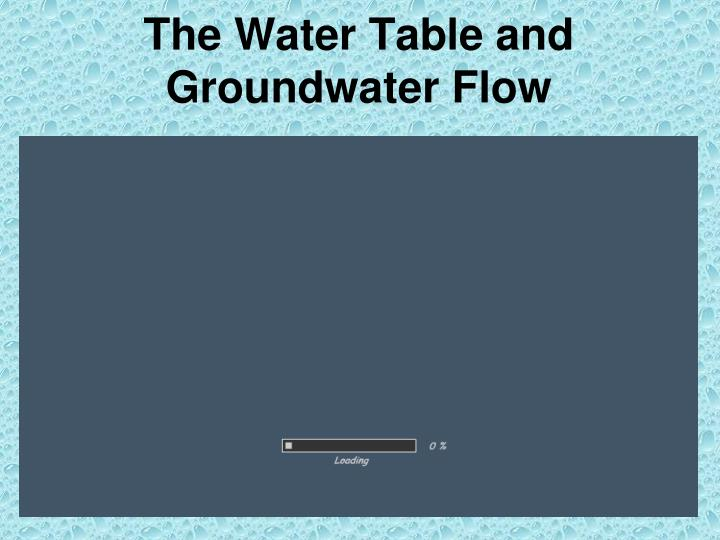 The Water Table and Groundwater Flow