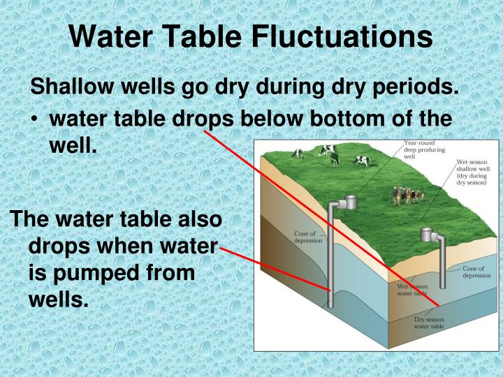 The water table also drops when water is pumped from wells.