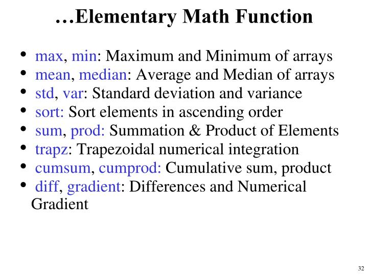 …Elementary Math Function