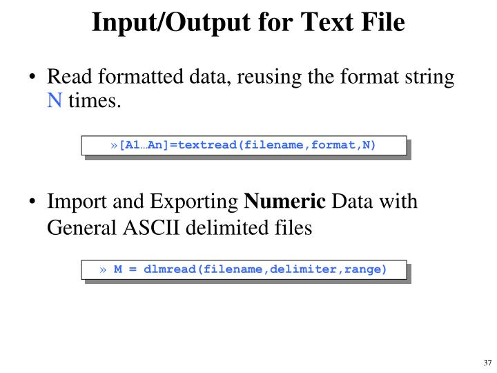 Input/Output for Text File